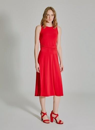 People By Fabrika Belden Bağlamalı Elbise Kırmızı